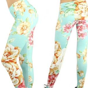 Pants - NWT Brushed Pastel Floral Print Leggings One Size